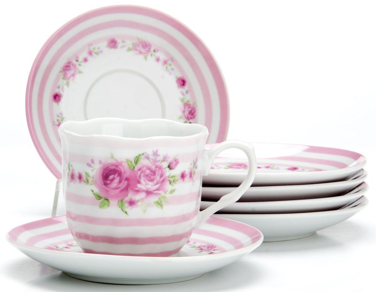 Чайный сервиз Loraine Цветы, 220 мл, 12 предметов. 25911115510Чайный сервиз на 6 персон изготовлен из качественного фарфора и оформлен красивым рисунком. Элегантный и удобный чайный сервиз не только украсит сервировку стола, но и поднимет настроение и превратит процесс чаепития в одно удовольствие.Сервиз состоит из 12 предметов: шести чашек и шести блюдец, упакованных в подарочную коробку. Чашки имеют удобную, изящную ручку.Изделия легко и просто мыть.Диаметр чашки: 8 см.Высота чашки: 7,5 см.Объем чашки: 220 мл.Диаметр блюдца: 14 см.