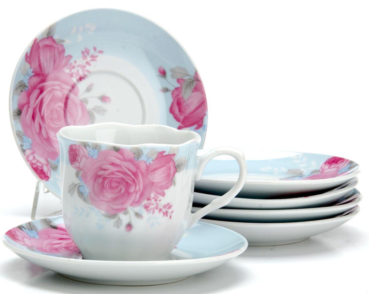 Чайный сервиз Loraine Цветы, 220 мл, 12 предметов. 25913 чайный сервиз loraine 200 мл 12 предметов 25931