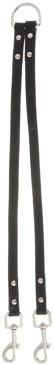 Сворка для собак Каскад, цвет: черный, ширина 1,5 см, длина 40 см29450251Сворка Каскад выполнена из высококачественного металла и натуральной кожи. Это раздвоенный поводок с двумя карабинами, концы которых соединены одним кольцом. Изделие предназначено для вождения двух собак в общественных местах. Очень легкая, прочная и удобная в эксплуатации. Ширина сворки: 1,5 см.Длина сворки: 40 см.
