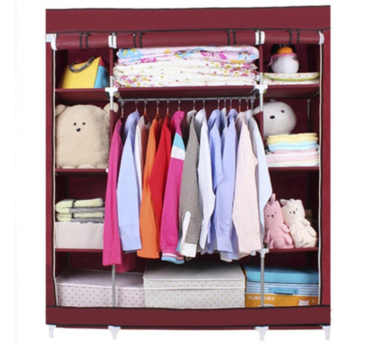Шкаф Homsu Маджорити, цвет: бордовый, 140 x 50 x 175 см12723Шкаф Homsu Маджорити выполнен из текстиля. Сборная конструкция такого шкафа состоит из металлических деталей каркаса, обтянутых сверху прочной и легкой тканью. Этот шкаф предназначен в создании полноценного порядка. Изделие имеет 8 полок для складывания одежды 35 х 50 см и один большой 70 х 50 см отделениями, а также отделению для подвешивания одежды высотой 120 см и шириной 70 см. Кроме своей большой практичной пользы, данный мебельный предмет также сможет очень выгодно дополнить имеющийся интерьер в помещении. Верхняя тканевая обивка, при этом, всегда может быть легко и быстро снята, если ее необходимо будет постирать или заменить.