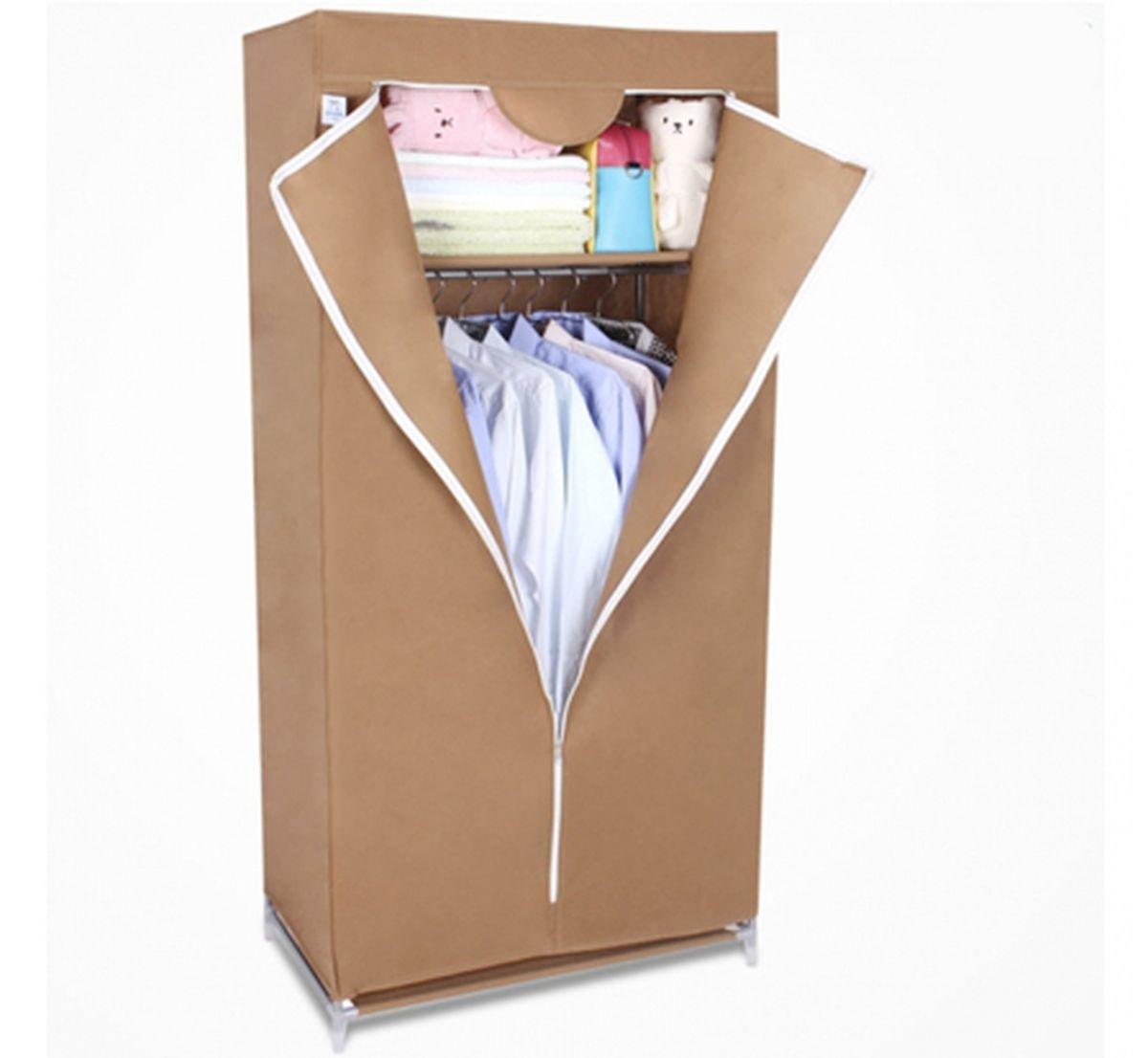 Шкаф Homsu Кармэн, цвет: коричневый, 68 x 45 x 155 смRG-D31SШкаф Homsu Кармэн выполнен из текстиля. Сборная конструкция такого шкафа состоит из металлических деталей каркаса, обтянутых сверху прочной и легкой тканью. Этот шкаф предназначен в создании полноценного порядка. Изделие имеет удобную полку для складывания одежды 65 х 45 см и перекладину той же ширины для подвешивания курток, пальто, рубашек, свитеров и других вещей. Кроме своей большой практичной пользы, данный мебельный предмет также сможет очень выгодно дополнить имеющийся интерьер в помещении. Верхняя тканевая обивка, при этом, всегда может быть легко и быстро снята, если ее необходимо будет постирать или заменить.