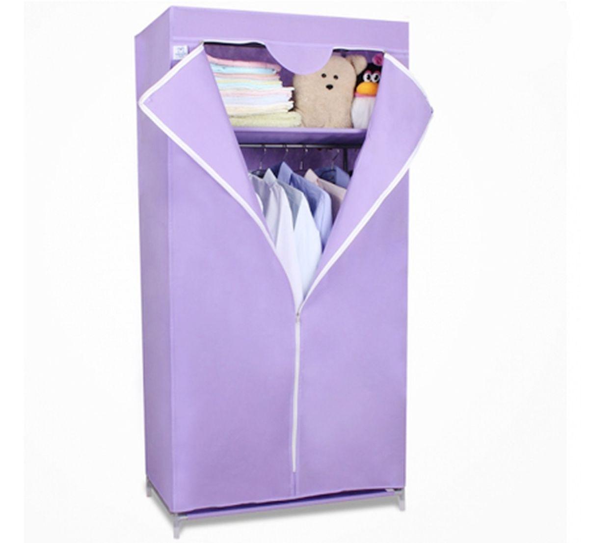 Шкаф Homsu Кармэн, цвет: фиолетовый, 68 x 45 x 155 смRG-D31SШкаф Homsu Кармэн выполнен из текстиля. Сборная конструкция такого шкафа состоит из металлических деталей каркаса, обтянутых сверху прочной и легкой тканью. Этот шкаф предназначен в создании полноценного порядка. Изделие имеет удобную полку для складывания одежды 65 х 45 см и перекладину той же ширины для подвешивания курток, пальто, рубашек, свитеров и других вещей. Кроме своей большой практичной пользы, данный мебельный предмет также сможет очень выгодно дополнить имеющийся интерьер в помещении. Верхняя тканевая обивка, при этом, всегда может быть легко и быстро снята, если ее необходимо будет постирать или заменить.