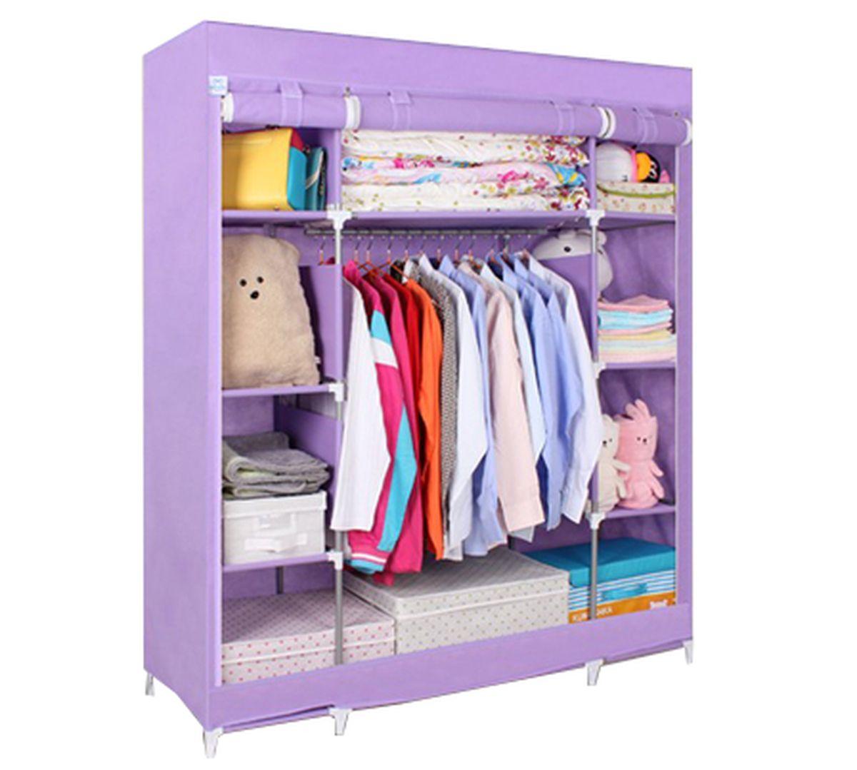 Шкаф Homsu Маджорити, цвет: фиолетовый, 140 x 50 x 175 см74-0060Шкаф Homsu Маджорити выполнен из текстиля. Сборная конструкция такого шкафа состоит из металлических деталей каркаса, обтянутых сверху прочной и легкой тканью. Этот шкаф предназначен в создании полноценного порядка. Изделие имеет 8 полок для складывания одежды 35 х 50 см и один большой 70 х 50 см отделениями, а также отделению для подвешивания одежды высотой 120 см и шириной 70 см. Кроме своей большой практичной пользы, данный мебельный предмет также сможет очень выгодно дополнить имеющийся интерьер в помещении. Верхняя тканевая обивка, при этом, всегда может быть легко и быстро снята, если ее необходимо будет постирать или заменить.