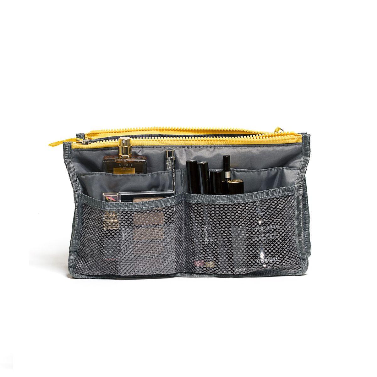 Органайзер для сумки Homsu, цвет: серый, 30 x 8,5 x 18,5 смS03301004Органайзер для сумки Homsu выполнен из ткани и полиэстера. Этот органайзер благодаря трем вместительным отделениям для вещей, четырем кармашкам по бокам и шести кармашкам в виде сетки обеспечит полный порядок в вашей сумке. Кроме того, изделие обладает интересным стилем, выполнено в сером цвете и оснащено двумя крепкими ручками, что позволяет применять его и вне сумки, как отдельный аксессуар.