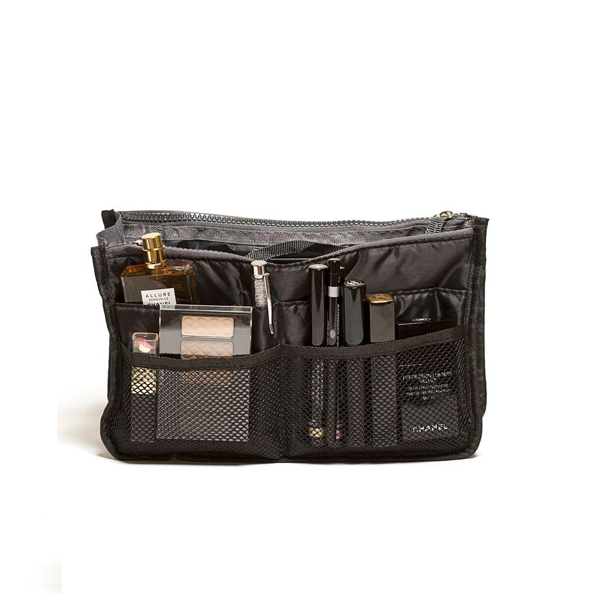 Органайзер для сумки Homsu, цвет: черный, 30 x 8,5 x 18,5 см4P-106-M4С_желтыйОрганайзер для сумки Homsu выполнен из полиэстера. Этот органайзер благодаря трем вместительным отделениям для вещей, четырем кармашкам по бокам и шести кармашкам в виде сетки обеспечит полный порядок в вашей сумке. Кроме того, изделие обладает интересным стилем, выполнено в сером цвете и оснащено двумя крепкими ручками, что позволяет применять его и вне сумки, как отдельный аксессуар.