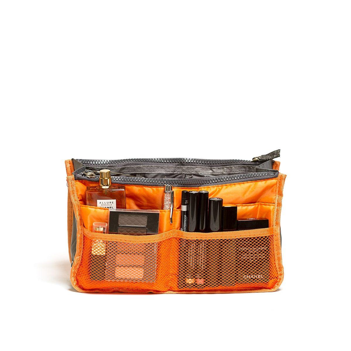 Органайзер для сумки Homsu, цвет: оранжевый, 30 x 8,5 x 18,5 смHOM-144Органайзер для сумки Homsu выполнен из полиэстера и текстиля. Этот органайзер для сумки имеет три вместительных отделениях для вещей, четыре кармашка по бокам и шесть кармашков в виде сетки. Такой органайзер обеспечит полный порядок в вашей сумке. Данный аксессуар обладает быстрой регулировкой толщины с помощью кнопок. Органайзер оснащен двумя крепкими ручками, что позволяет применять его и вне сумки.