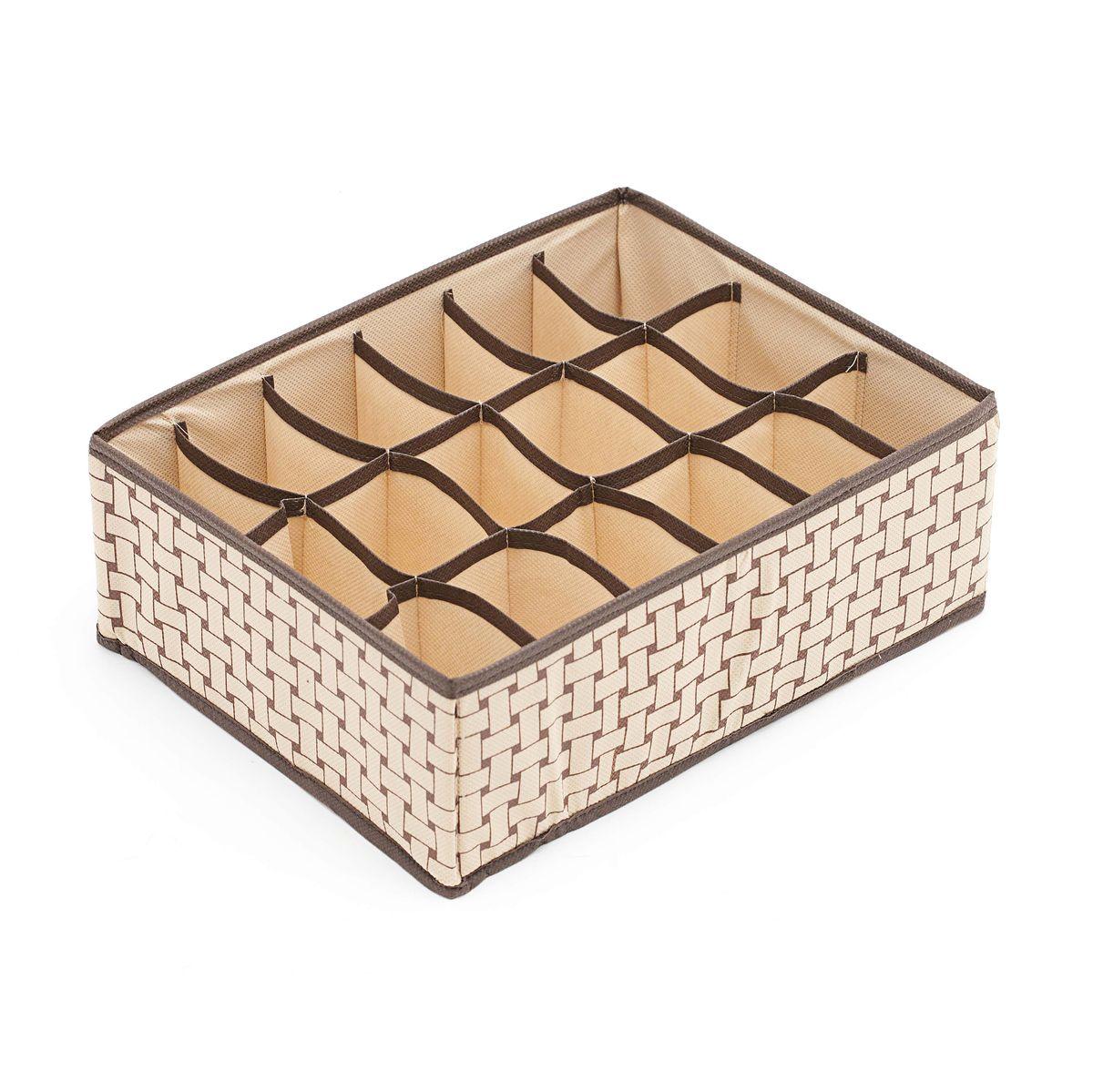 Органайзер Homsu Pletenka, 18 секций, 31 x 24 x 11 смHOM-161Органайзер Homsu  Pletenka выполнен из спанбонда и картона. Квадратный и плоский органайзер с 18 раздельными ячейками очень удобен для хранения мелких вещей в вашем ящике или на полке. Идеально для носков, платков, галстуков и других вещей ежедневного пользования. Имеет жесткие борта, что является гарантией сохранности вещей.