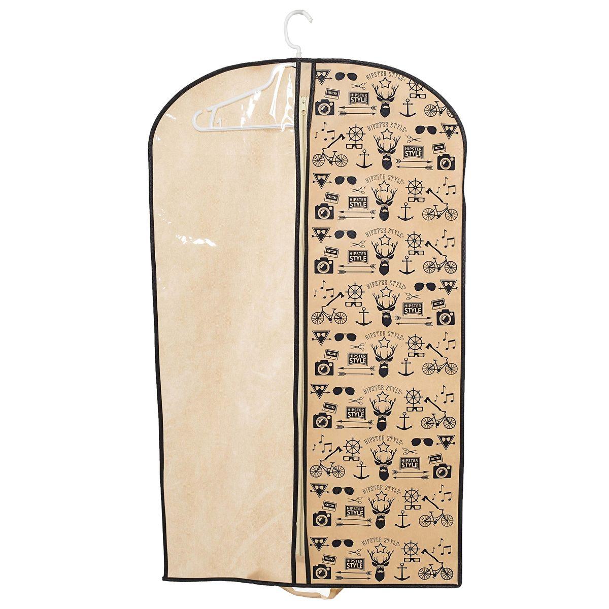 Чехол для одежды Homsu Hipster Style, подвесной, с прозрачной вставкой, 100 x 60 см10503Подвесной чехол для одежды Homsu Hipster Style на застежке-молнии выполнен из высококачественного нетканого материала. Чехол снабжен прозрачной вставкой из ПВХ, что позволяет легко просматривать содержимое. Изделие подходит для длительного хранения вещей.Чехол обеспечит вашей одежде надежную защиту от влажности, повреждений и грязи при транспортировке, от запыления при хранении и проникновения моли. Чехол позволяет воздуху свободно поступать внутрь вещей, обеспечивая их кондиционирование. Это особенно важно при хранении кожаных и меховых изделий.Чехол для одежды Homsu Hipster Style создаст уютную атмосферу в гардеробе. Лаконичный дизайн придется по вкусу ценительницам эстетичного хранения и сделают вашу гардеробную изысканной и невероятно стильной.Размер чехла: 100 х 60 см.