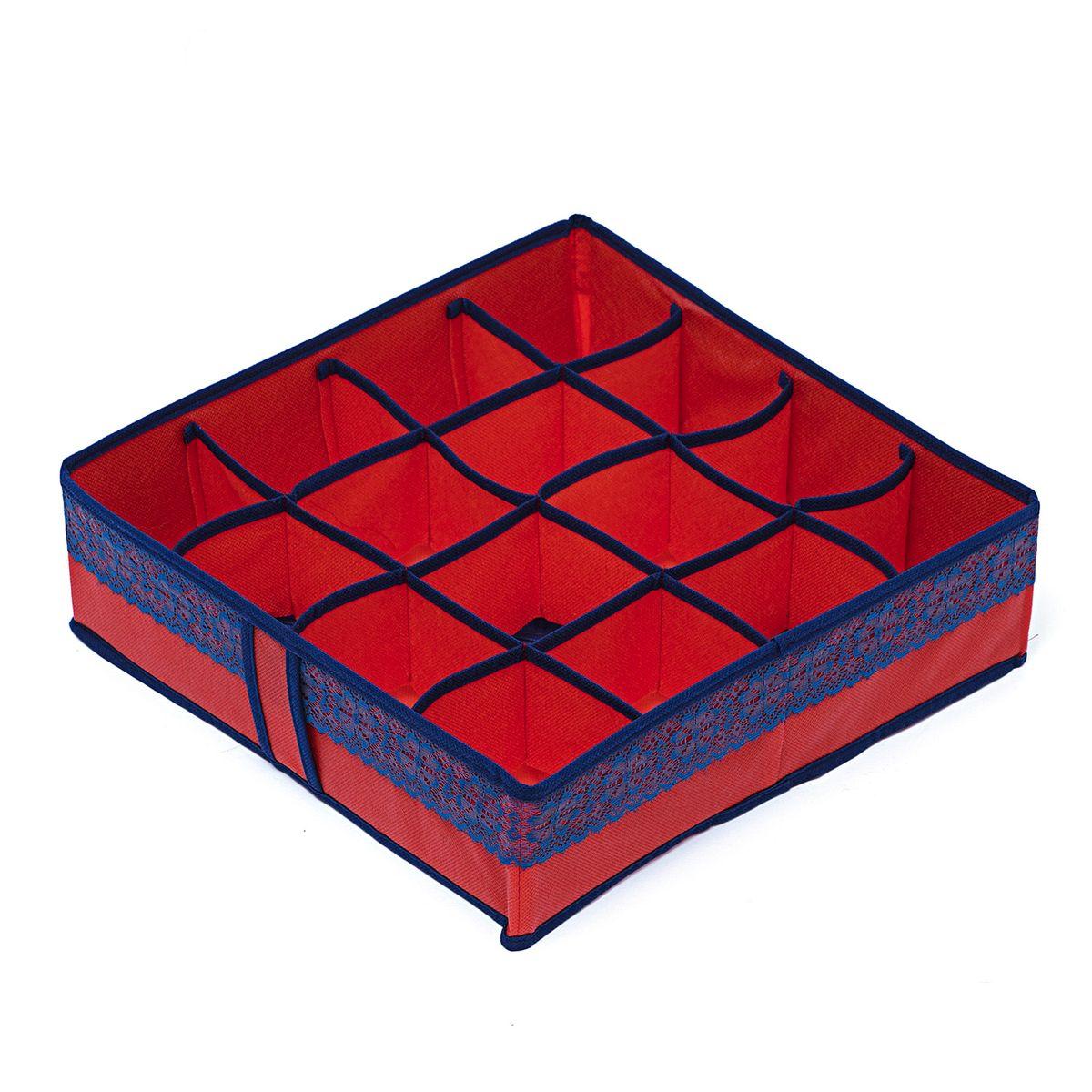 Органайзер для хранения вещей Homsu Rosso, 16 ячеек, 35 x 35 x 10 см74-0060Компактный органайзер Homsu Rosso изготовлен из высококачественного полиэстера, который обеспечивает естественную вентиляцию. Материал позволяет воздуху свободно проникать внутрь, но не пропускает пыль. Органайзер отлично держит форму, благодаря вставкам из плотного картона. Изделие имеет 16 квадратных секций для хранения нижнего белья, колготок, носков и другой одежды.Такой органайзер позволит вам хранить вещи компактно и удобно, а оригинальный дизайн сделает вашу гардеробную красивой и невероятно стильной.