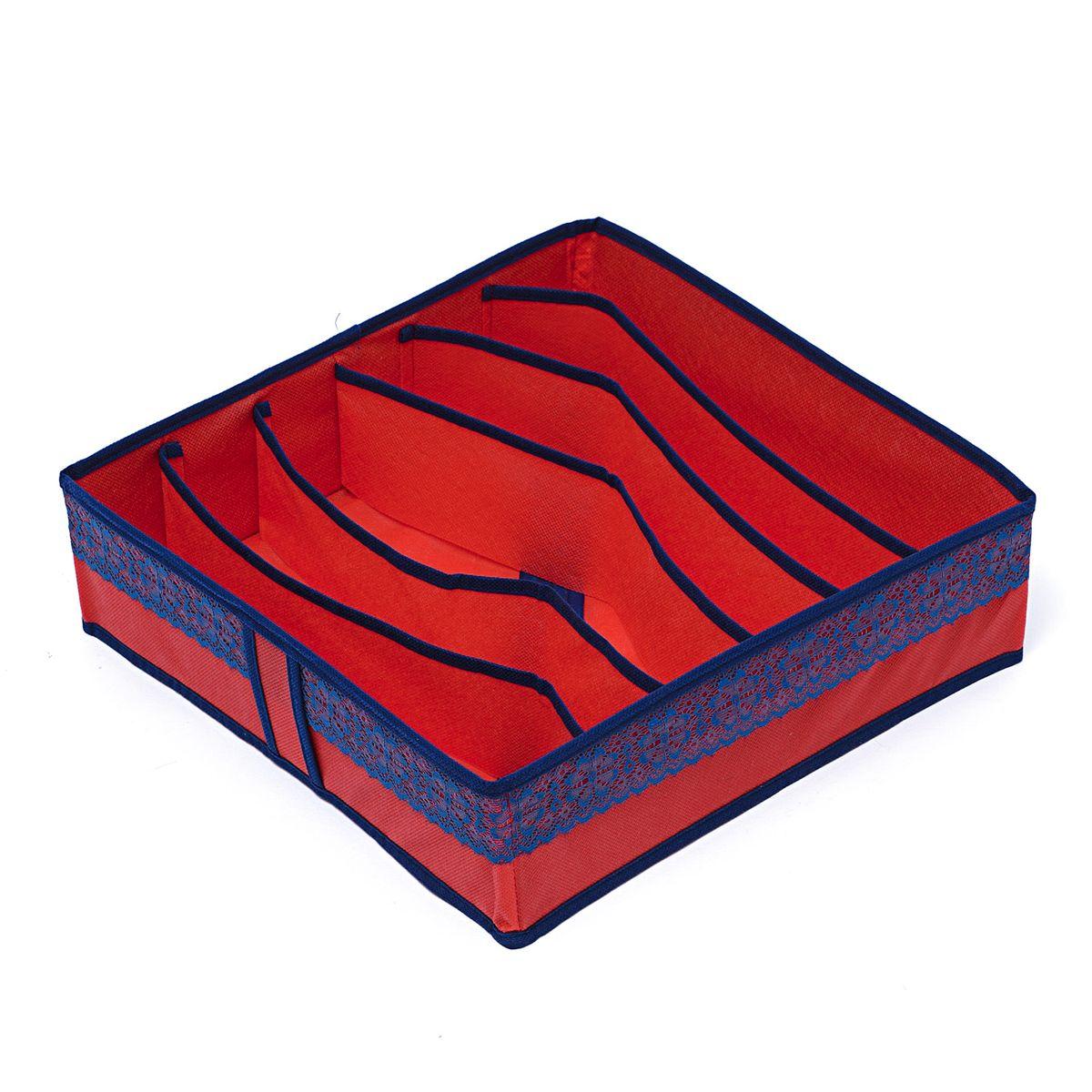Органайзер для хранения вещей Homsu Rosso, 6 ячеек, 35 x 35 x 10 см09840-20.000.00Компактный органайзер Homsu Rosso изготовлен из высококачественного полиэстера, который обеспечивает естественную вентиляцию. Материал позволяет воздуху свободно проникать внутрь, но не пропускает пыль. Органайзер отлично держит форму, благодаря вставкам из плотного картона. Изделие имеет 6 ячеек для хранения нижнего белья, колготок, носков и другой одежды.Такой органайзер позволит вам хранить вещи компактно и удобно, а оригинальный дизайн сделает вашу гардеробную красивой и невероятно стильной.