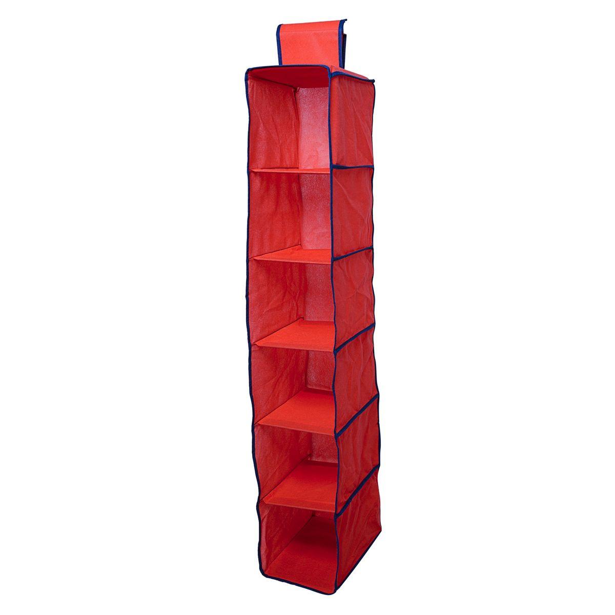 Органайзер подвесной Homsu Rosso, 6 полок, 120 х 22 х 30 см74-0120Подвесной органайзер Homsu Rosso выполнен из прочного полиэстера - материала, который отличается прочностью, водоотталкивающими свойствами и практичностью. Изделие имеет 6 полок для хранения различных предметов, в том числе одежды, детских игрушек. Органайзер подвешивается к карнизу, рейлингу, стальным трубам и крепежам с помощью специальной петли. Размер полки: 30 х 20 см.