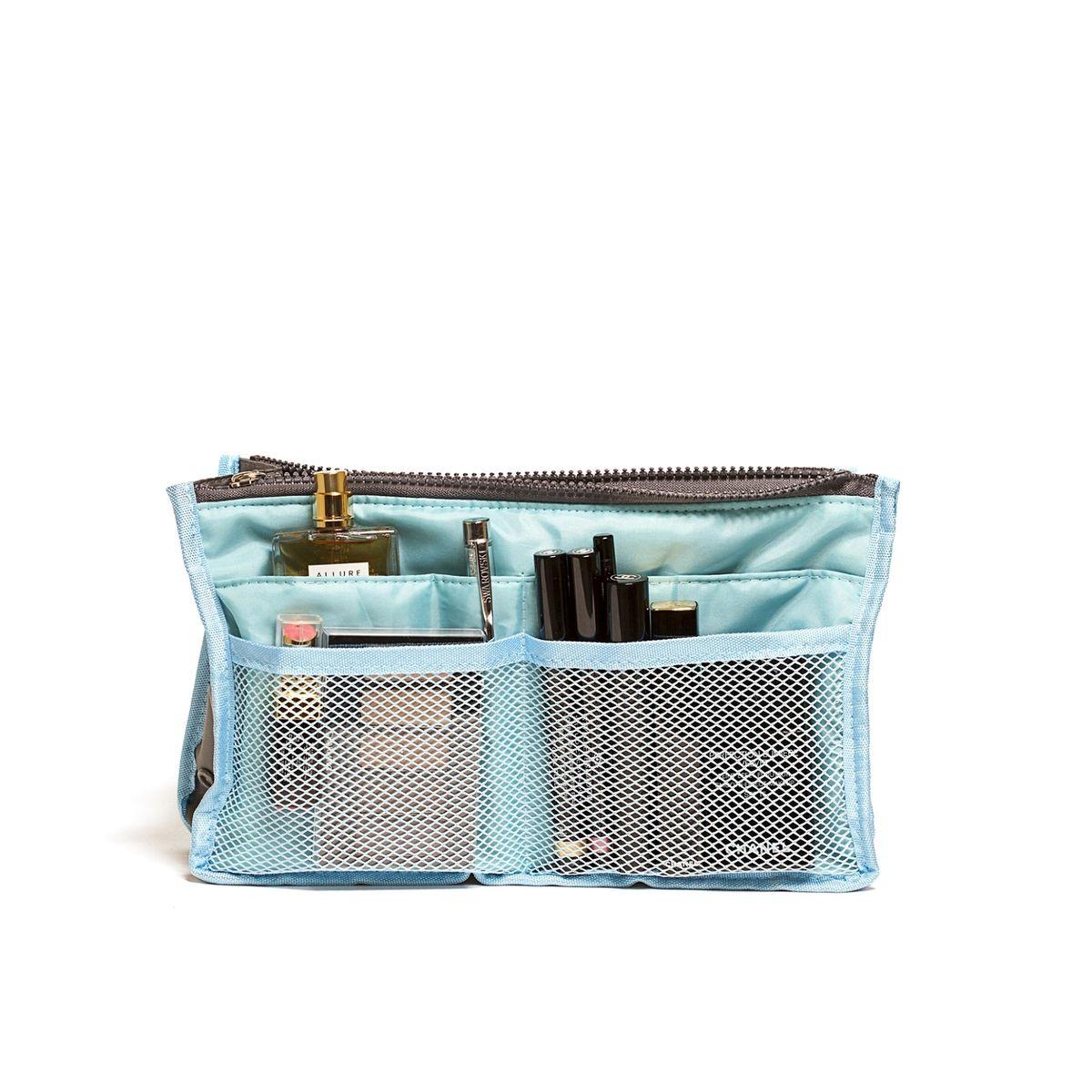 Органайзер для сумки Homsu, цвет: голубой, 30 x 8,5 x 18,5 см12723Органайзер для сумки Homsu выполнен из полиэстера и текстиля. Этот органайзер для сумки имеет три вместительных отделениях для вещей, четыре кармашка по бокам и шесть кармашков в виде сетки. Такой органайзер обеспечит полный порядок в вашей сумке. Данный аксессуар обладает быстрой регулировкой толщины с помощью кнопок. Органайзер оснащен двумя крепкими ручками, что позволяет применять его и вне сумки.