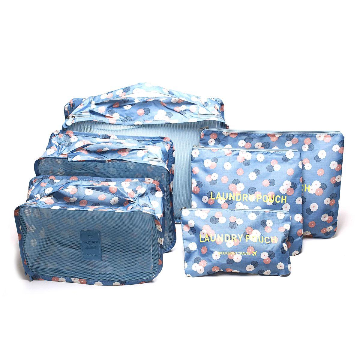Набор органайзеров для багажа Homsu Цветок, цвет: синий, белый, розовый, 6 предметов74-0060Набор органайзеров для багажа Homsu Цветок выполнен из полиэстера и оснащен молниями. В комплекте собраны органайзеры для бюстгальтеров, нижнего белья, носков, одежды, косметики. Вы сможете распределить все вещи, которые возьмете с собой таким образом, чтобы всегда иметь быстрый доступ к ним. Органайзеры надежно защитят от пыли, грязи, влажности или механических повреждений. Размеры органайзеров: 40 x 30 x 12 см; 30 x 28 x 13 см; 30 x 21 x 13 см; 35 x 27 см; 27 x 25 см; 26 x 16 см.