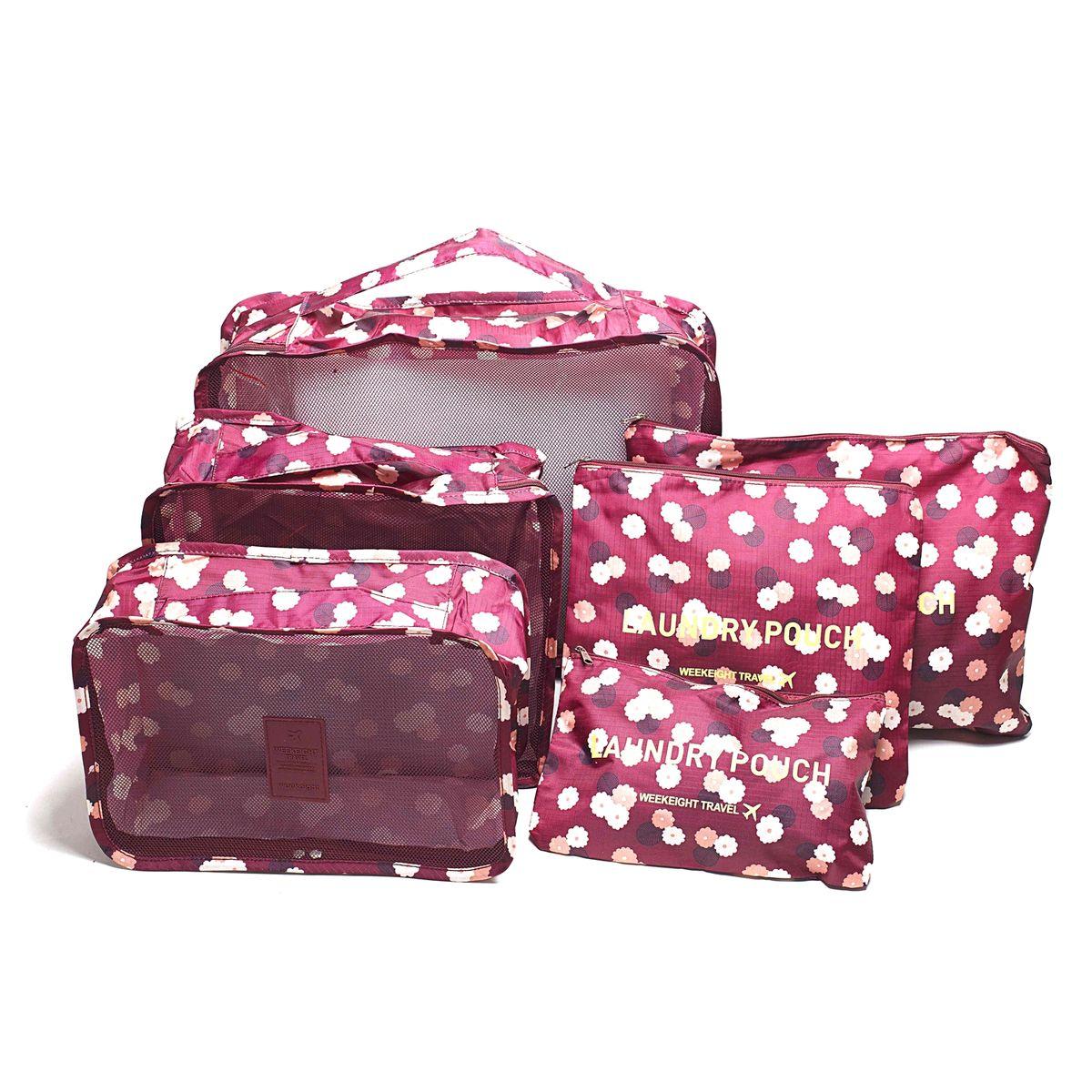 Набор органайзеров для багажа Homsu Цветок, цвет: бордовый, розовый, белый, 6 предметовCLP446Набор органайзеров для багажа Homsu Цветок выполнен из полиэстера и оснащен молниями. В комплекте собраны органайзеры для бюстгальтеров, нижнего белья, носков, одежды, косметики. Вы сможете распределить все вещи, которые возьмете с собой таким образом, чтобы всегда иметь быстрый доступ к ним. Органайзеры надежно защитят от пыли, грязи, влажности или механических повреждений. Размеры органайзеров: 40 x 30 x 12 см; 30 x 28 x 13 см; 30 x 21 x 13 см; 35 x 27 см; 27 x 25 см; 26 x 16 см.