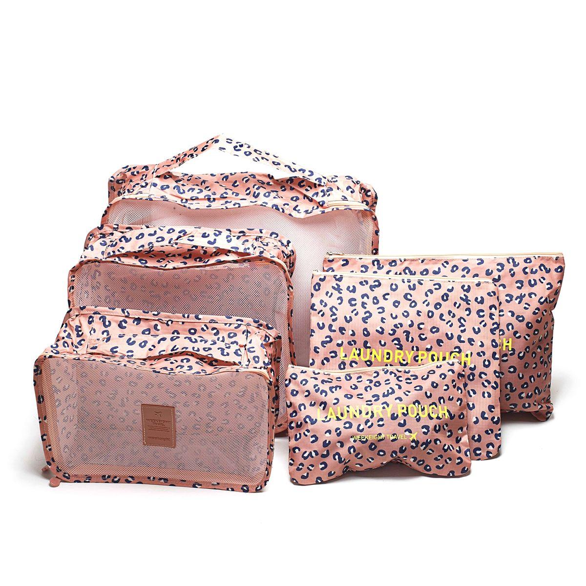 Набор органайзеров для багажа Homsu Леопард, 6 предметовCLP446Набор органайзеров для багажа Homsu Леопард выполнен из полиэстера и оснащен молниями. В комплекте собраны органайзеры для бюстгальтеров, нижнего белья, носков, одежды, косметики. Вы сможете распределить все вещи, которые возьмете с собой таким образом, чтобы всегда иметь быстрый доступ к ним. Органайзеры надежно защитят от пыли, грязи, влажности или механических повреждений. Размеры органайзеров: 40 x 30 x 12 см; 30 x 28 x 13 см; 30 x 21 x 13 см; 35 x 27 см; 27 x 25 см; 26 x 16 см.