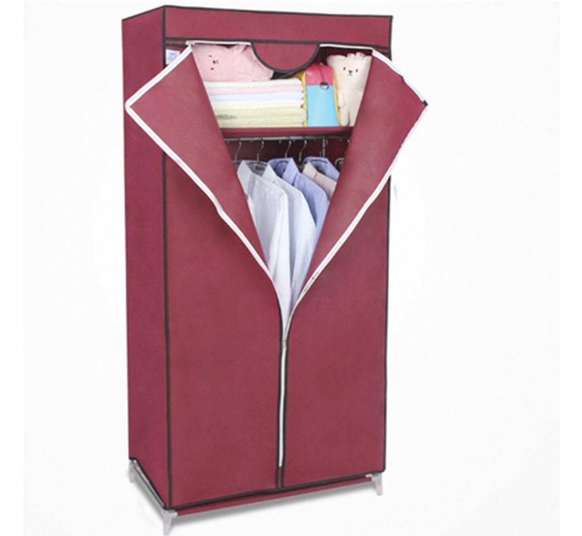 Шкаф Homsu Кармэн, цвет: бордовый, 68 x 45 x 155 см98299571Шкаф Homsu Кармэн выполнен из текстиля. Сборная конструкция такого шкафа состоит из металлических деталей каркаса, обтянутых сверху прочной и легкой тканью. Этот шкаф предназначен в создании полноценного порядка. Изделие имеет удобную полку для складывания одежды 65 х 45 см и перекладину той же ширины для подвешивания курток, пальто, рубашек, свитеров и других вещей. Кроме своей большой практичной пользы, данный мебельный предмет также сможет очень выгодно дополнить имеющийся интерьер в помещении. Верхняя тканевая обивка, при этом, всегда может быть легко и быстро снята, если ее необходимо будет постирать или заменить.