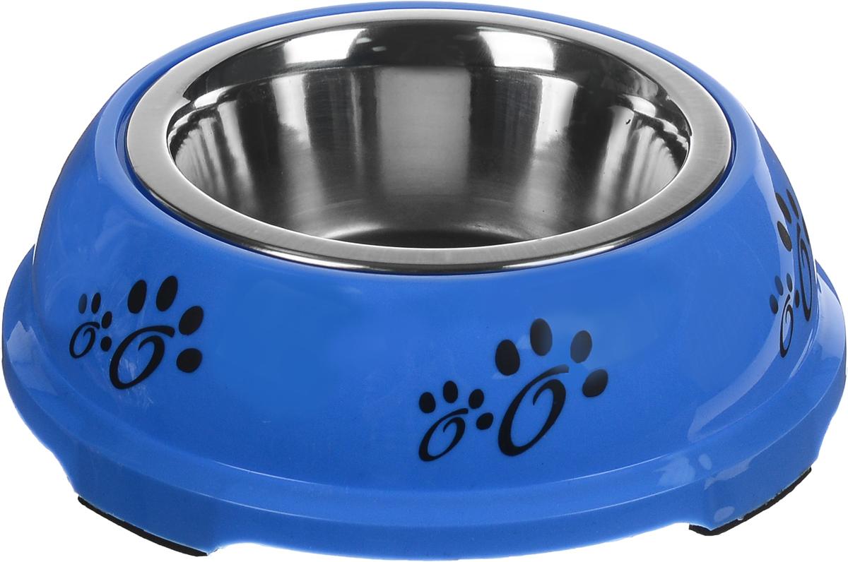 Миска для животных Каскад, на подставке, цвет: синий, черный, стальной, 750 мл игрушка для животных каскад гамбургер диаметр 7 5 см