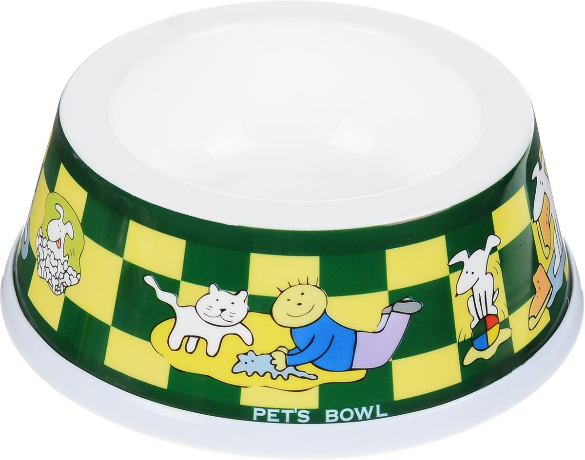 Миска для животных Каскад, цвет: зеленый, желтый, белый, 250 мл игрушка для животных каскад гамбургер диаметр 7 5 см