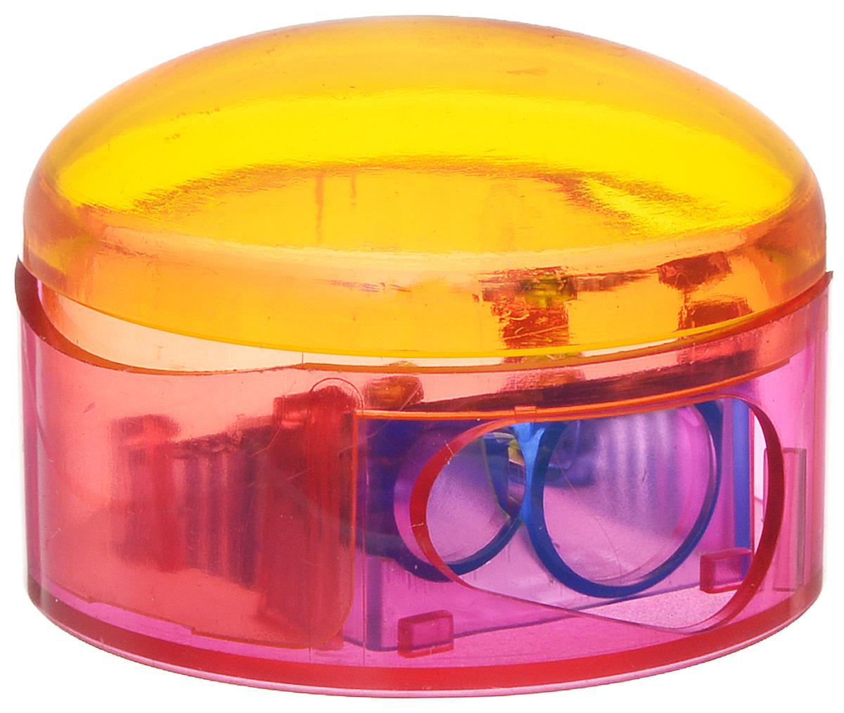 M+R Точилка Top Duo цвет оранжевый розовый307AgrnТочилка M+R Top Duo выполнена из прочного пластика.В точилке имеются два отверстия для карандашей разного диаметра. Точилка подходит для различных видов карандашей. При повороте пластикового контейнера, отверстия закрываются.Полупрозрачный контейнер для сбора стружки позволяет визуально контролировать уровень заполнения и вовремя производить очистку.