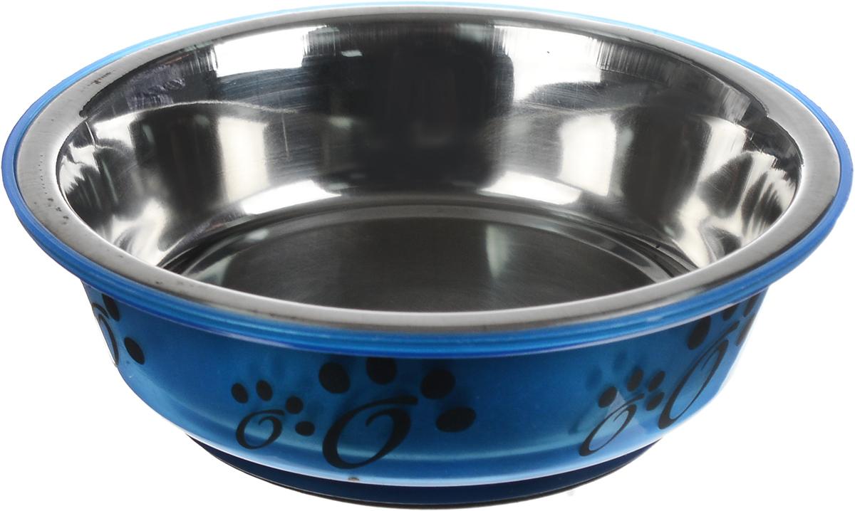 Миска для животных Каскад, цвет: синий, стальной, черный, 180 мл игрушка для животных каскад мяч мина резиновый цвет красный 10 см