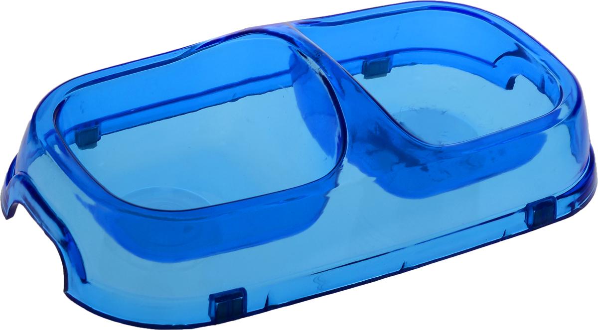Миска для животных Каскад, двойная, цвет: прозрачный, синий, 150 мл0120710Двойная миска Каскад - это функциональный аксессуар для собак и кошек. Изделие, выполненное из высококачественного цветного пластика, оснащено противоскользящими вставками. В миску можно положить два разных блюда - в каждое отделение. Яркий дизайн придаст изделию индивидуальность и удовлетворит вкус самых взыскательных зоовладельцев. Объем отделения: 150 мл. Размер отделения (по верхнему краю): 9,5 х 9,5 см.Высота отделения: 4 см.Общий размер миски: 22 х 12 х 6 см.