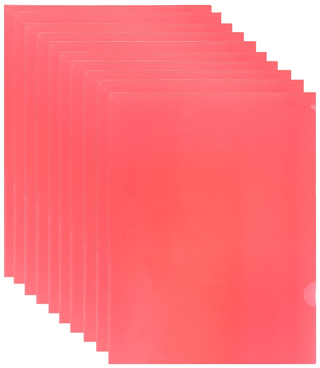 Durable Папка-уголок цвет красный 10 шт11227022Папка-уголок Durable выполнена из высококачественного полипропилена.Специальная удобная выемка для перелистывания листов облегчает работу с документами. Плотность 180 микрон.Папка-уголок - это незаменимый атрибут для студента, школьника, офисного работника. Такая папка надежно сохранит любые бумаги и сбережет их от повреждений, пыли и влаги.В наборе 10 глянцевых папок красного цвета.