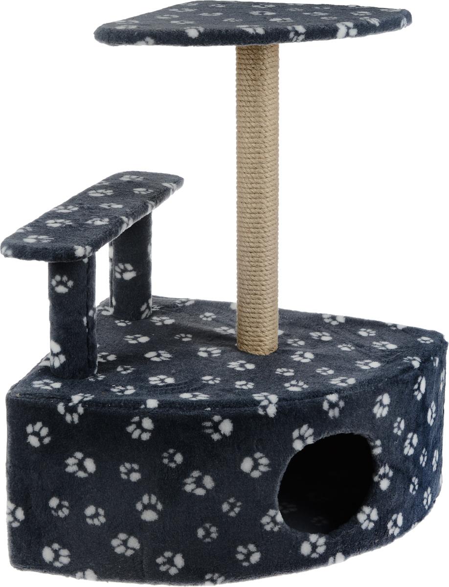 Игровой комплекс для кошек Меридиан, угловой, с домиком и когтеточкой, цвет: серый, белый, бежевый, 58 х 48 х 79 см0120710Игровой комплекс для кошек Меридиан выполнен из высококачественного ДВП и ДСП и обтянут искусственным мехом. Изделие предназначено для кошек. Комплекс оснащен ступенькой. Ваш домашний питомец будет с удовольствием точить когти о специальный столбик, изготовленный из джута. А отдохнуть он сможет либо на полке, находящейся наверху столбика, либо в расположенном внизу домике.Общий размер: 58 х 48 х 79 см.Размер полки: 37 х 37 см.Высота ступеньки: 23 см.Размер домика: 58 х 48 х 28 см.
