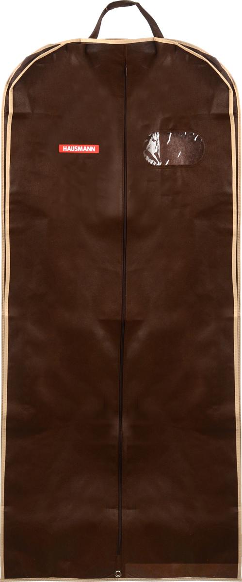 Чехол для одежды Hausmann, подвесной, с прозрачной вставкой, цвет: коричневый, 60 х 140 х 10 см чехол для одежды hausmann подвесной с прозрачной вставкой цвет серый 60 х 100 см