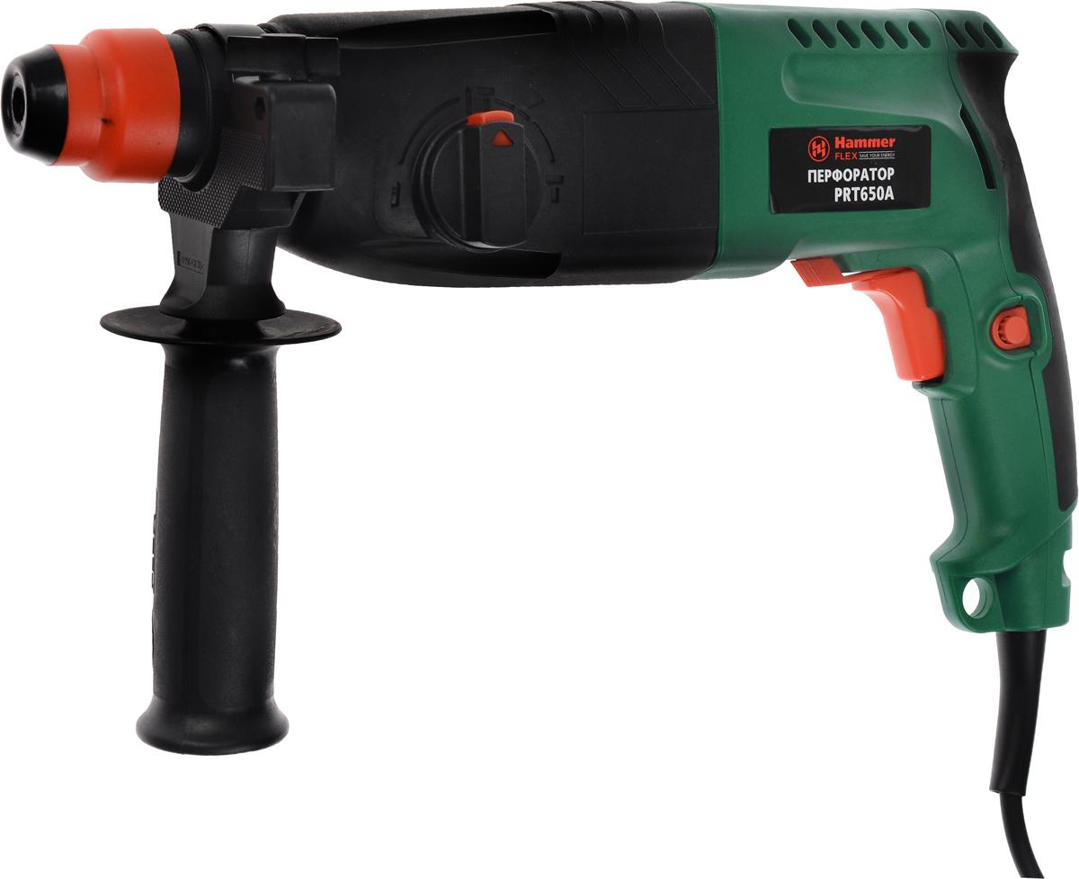 Перфоратор Hammerflex PRT650A, с бурами + ПОДАРОК: Пикакн18сПерфоратор HammerflexPRT650A подходит для использования как в быту, так и на производстве. Перфоратор предназначен для создания отверстий в металле, в дереве и других твердых материалах. В режиме сверление с ударом или долбление инструмент способен продолбить отверстие в бетоне, кирпиче, керамике. А если переключиться в режим завинчивание инструмент превращается в обычный шуруповерт, которым можно вкручивать саморезы. Отличная производительностьПри относительно не сложных видах работ, а также при эксплуатации инструмента на высоте вам необходим сравнительно легкий и производительный перфоратор. Именно таким является HammerflexPRT650A от производителя Hammer. Весом 3,3 кг, он снабжен мощным двигателем 650 Вт и длинным сетевым кабелем 3,3 м. Модель имеет функцию удара с энергией 2,2 Дж, частотой 4850 уд/мин, что делает его отличным убийцей бетона и кирпича. Долбить или сверлитьСамым популярным режимом большинства перфораторов является режим сверления с ударом, при котором рабочая оснастка получает одновременно оборотные и поступательные движения, таким образом делая отверстие в твердых материалах. В режиме удара (долбление) оборотные движения рабочего элемента отсутствуют, остаются только ударные, и перфоратор превращается в отбойный молоток, способный разрушать кирпич, камень и монолитные стены. SDS-патронУниверсальный патрон SDS-Plus позволяет закрепить зубило (и другие насадки) в разных положениях и обеспечивает удобную работу в труднодоступных местах. Диаметры сверленияДля надежной долговечной работы инструмента всегда необходимо знать максимальные рекомендуемые диаметры сверления определенных типов материалов, для HammerflexPRT650A это: по дереву – 30 мм, по металлу – 13 мм, по бетону (кирпичу) – 24 мм. Полезные мелочиВ Hammer Prt650a предусмотрен ряд дополнительных конструктивных решений для более удобной эксплуатации: ограничитель глубины, дополнительная рукоятка, реверс, регулировка частоты вращения, 