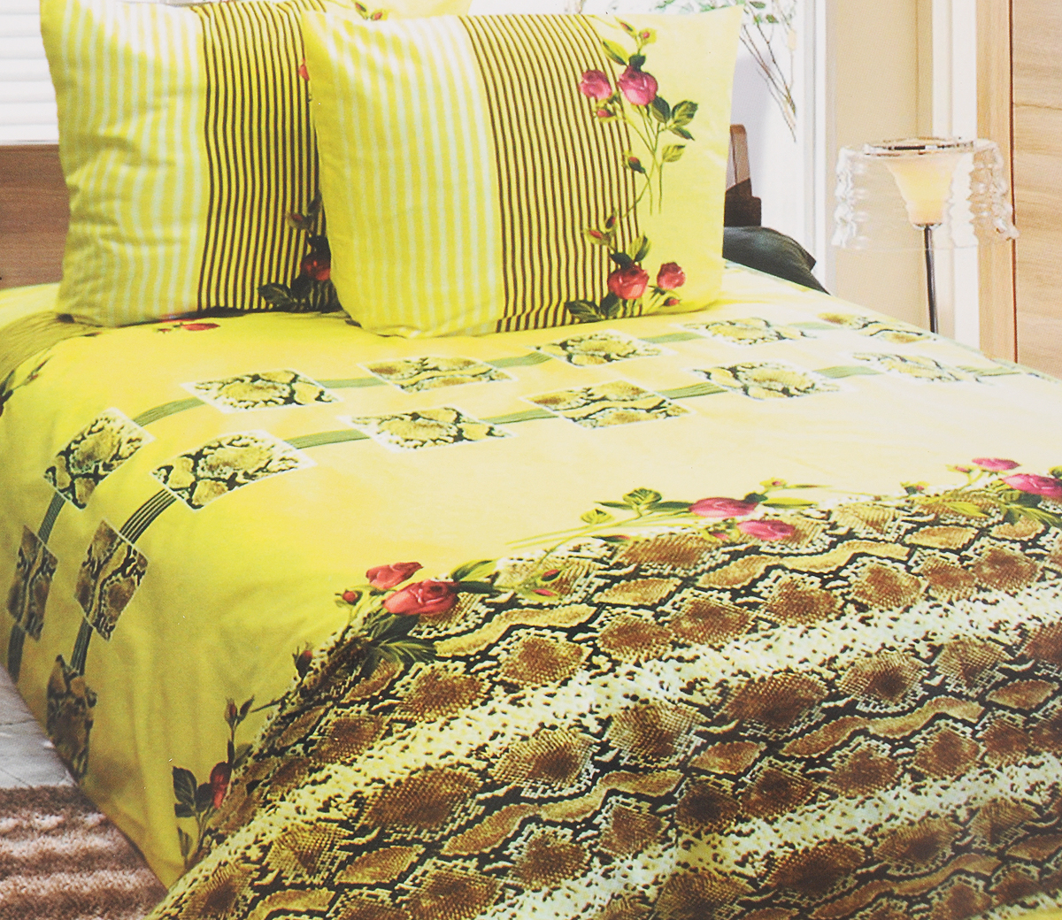 Комплект белья Катюша Клеопатра, 1,5-спальный, наволочки 70х70, цвет: светло-желтый, коричневый, красныйMT-1951Комплект постельного белья Катюша Клеопатра является экологически безопасным для всей семьи, так как выполнен из бязи (100% хлопок). Комплект состоит из пододеяльника, простыни и двух наволочек. Постельное белье оформлено оригинальным рисунком и имеет изысканный внешний вид.Бязь - это ткань полотняного переплетения, изготовленная из экологически чистого и натурального 100% хлопка. Она прочная, мягкая, обладает низкой сминаемостью, легко стирается и хорошо гладится. Бязь прекрасно пропускает воздух и за ней легко ухаживать. При соблюдении рекомендуемых условий стирки, сушки и глажения ткань имеет усадку по ГОСТу, сохранятся яркость текстильных рисунков. Приобретая комплект постельного белья Катюша Клеопатра, вы можете быть уверены в том, что покупка доставит вам и вашим близким удовольствие иподарит максимальный комфорт.