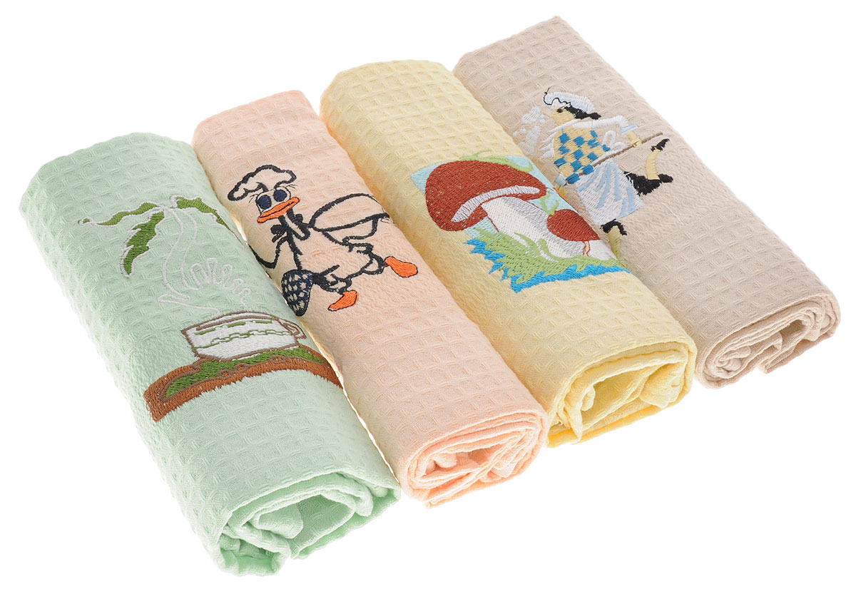 Набор кухонных полотенец Soavita, 40 х 60 см, 4 шт. 400508187421Набор Soavita С Новым годом состоит из 4 вафельных полотенец, выполненных из 100% хлопка. Изделия предназначены для использования на кухне и в столовой.Набор полотенец Soavita - отличное приобретение для каждой хозяйки.Комплектация: 4 шт.