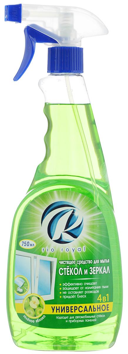 Средство для мытья стекол и зеркал Rio Royal, зеленое яблоко, 750 мл391602Средство Rio Royal предназначено для мытья стекол, зеркал и других изделий из стекла. Эффективно смывает грязь, пыль, следы рук и прочие загрязнения. Средство не оставляет разводов и следов, защищает от налипания пыли и придает поверхности блеск. Подходит для мытья автомобильных стекол. Товар сертифицирован.