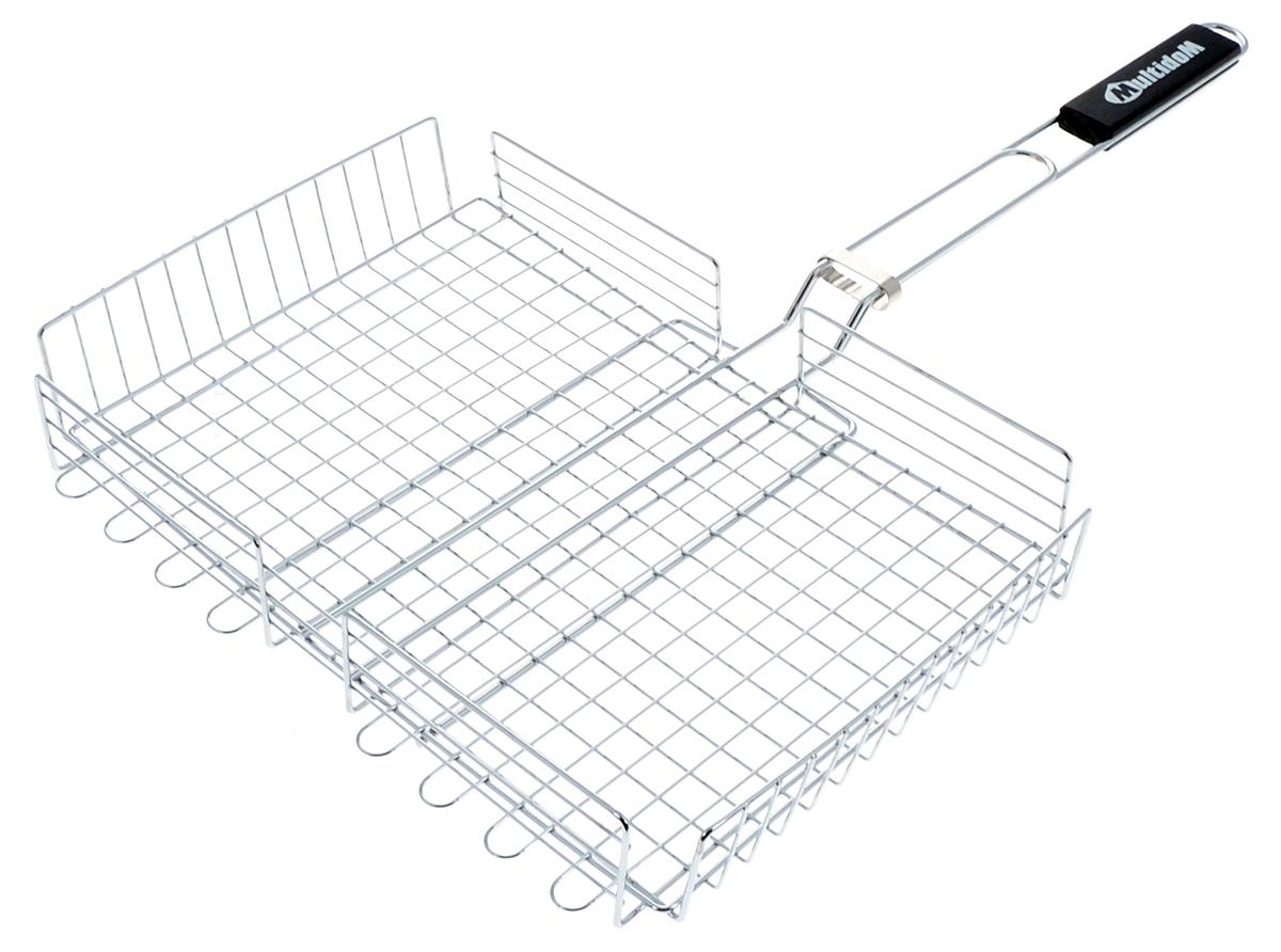 Решетка для барбекю Мультидом Пикник, 37 х 27 х 6 см80-055Решетка для барбекю Мультидом Пикник изготовлена из стальной проволоки с хромированным покрытием. Ручка изготовлена из дерева. Решетка снабжена регулируемой сеткой с зажимом, которая позволит вам приготовить любой продукт, от тонких до крупных ломтиков, рыбу, мясо или овощи на углях. Изделие легко переворачивается. Такая решетка - отличное решение для использования на природе. Процесс готовки на углях соберет друзей вокруг огня, а вкус блюд нежных, сочных, с запахом дымка и специй, создаст незабываемую атмосферу праздника на вашем пикнике. Размер основания решетки: 37 х 27 см. Высота бортика: 6 см. Длина решетки (с ручкой): 64,5 см.