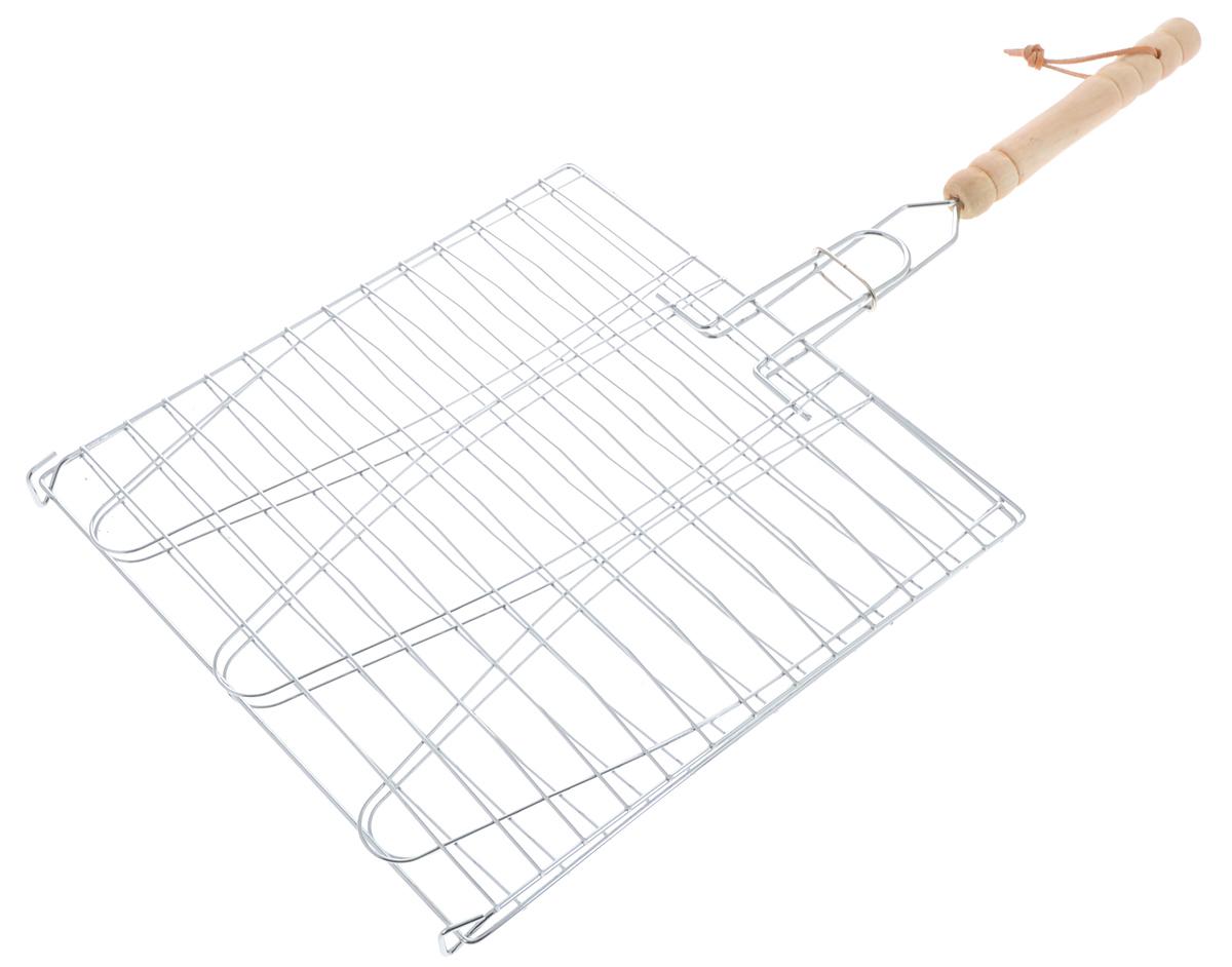 Решетка для барбекю Мультидом Отдых, 28 х 28 см80-081Решетка для барбекю Мультидом Отдых изготовлена из стальной проволоки с хромированным покрытием. Ручка изготовлена из дерева и оснащена петелькой для удобного хранения. Решетка без бортиков снабжена зажимом, который гарантирует, что решетка не откроется, и продукты не выпадут. С помощью данного изделия вы сможете приготовить любой продукт, от тонких до крупных ломтиков, рыбу, мясо или овощи на углях. Изделие легко переворачивается. Такая решетка - отличное решение для использования на природе. Процесс готовки на углях соберет друзей вокруг огня, а вкус блюд нежных, сочных, с запахом дымка и специй, создаст незабываемую атмосферу праздника на вашем пикнике. Размер решетки: 28 х 28 см. Длина решетки (с ручкой): 55 см.