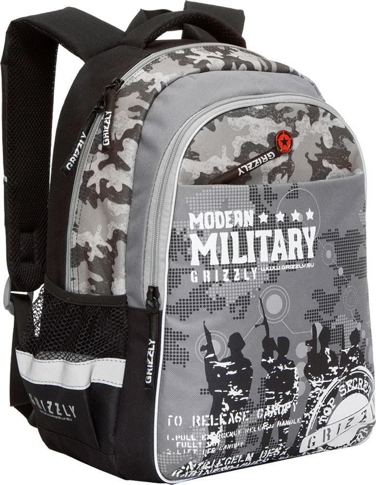 Grizzly Рюкзак детский Modern Military цвет черный серый72523WDДетский рюкзак Grizzly Modern Military - это стильный рюкзак, который подойдет всем, кто хочет разнообразить свои школьные будни. Рюкзак выполнен из плотного полиэстера черного и серого цветов.Благодаря уплотненной спинке и двум мягким плечевым ремням, длина которых регулируется, у ребенка не возникнут проблемы с позвоночником. Конструкция спинки дополнена двумя эргономичными подушечками, противоскользящей сеточкой и системой вентиляции для предотвращения запотевания спины ребенка.Рюкзак состоит из двух основных вместительных отделений, закрывающихся на застежки-молнии. Большое основное отделение содержит небольшой пришивной карман на молнии и два мягких разделителя для тетрадей и учебников, фиксирующихся резинкой. Дно рюкзака можно сделать жестким, разложив специальную панель с пластиковой вставкой, что повышает сохранность содержимого рюкзака и способствует правильному распределению нагрузки. Во втором отделении карманов нет. Лицевая сторона оснащена вместительным карманом на застежке-молнии. По бокам рюкзака расположены два небольших сетчатых кармана на резинке.Для удобной переноски предусмотрена эргономичная ручка и петля для подвешивания. Рюкзак оснащен светоотражающими элементами.Такой школьный рюкзак станет незаменимым спутником вашего ребенка в походах за знаниями.