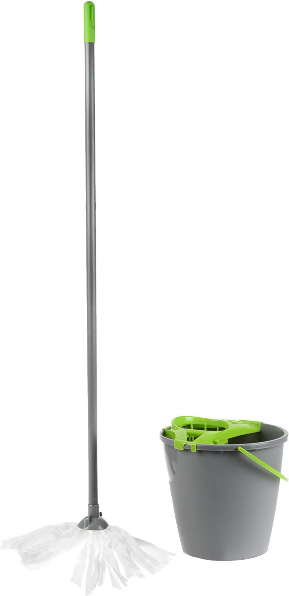 Набор для уборки York Mop Set, цвет: серый, салатовый, 3 предмета. 72030DW90Набор York Mop Set предназначен для уборки любых типов напольных покрытий, включая паркет и ламинат.Специальная структура микроактивного волокна лепестковой насадки убирает даже сильные, затвердевшие загрязнения, не оставляя разводов и эффективно впитывает влагу. Благодаря специальному ведру со встроенным отжимом, уборка станет быстрой и гигиеничной, так как вы сможете выжимать швабру в предназначенном для этого ведре, не пачкая руки. Такой набор сделает уборку легкой и обеспечит идеальную чистоту вашего пола без разводов и царапин.Диаметр ведра по верхнему краю: 27 см.Высота ведра: 25,5 см.Объем ведра: 10 л.Длина черенка: 108 см.Диаметр черенка: 2 см.Средняя длина волокон лепестковой насадки: 20 см.Диаметр отверстия для черенка: 2 см.