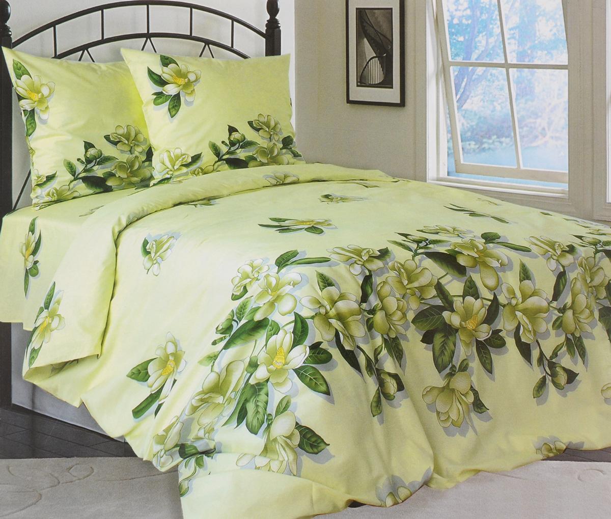 Комплект белья Катюша Юнона, 1,5-спальный, наволочки 70х70, цвет: зеленый, серый, желтый391602Роскошный комплект белья Катюша Юнона, выполненный из бязи (100% натуральногохлопка), состоит из пододеяльника, простыни и двух наволочек. Постельное белье оформлено изображением цветов и имеет изысканный внешний вид. Бязь - это ткань полотняного переплетения, изготовленная из экологически чистого и натурального 100% хлопка.Она приятная на ощупь, при этом очень прочная, хорошо сохраняет форму и легко гладится. Ткань прекрасно пропускает воздух и за ней легко ухаживать. Приобретая комплект постельного белья Катюша Юнона, вы можете быть уверенны в том, что покупка доставит вам и вашим близким удовольствие и подарит максимальный комфорт.