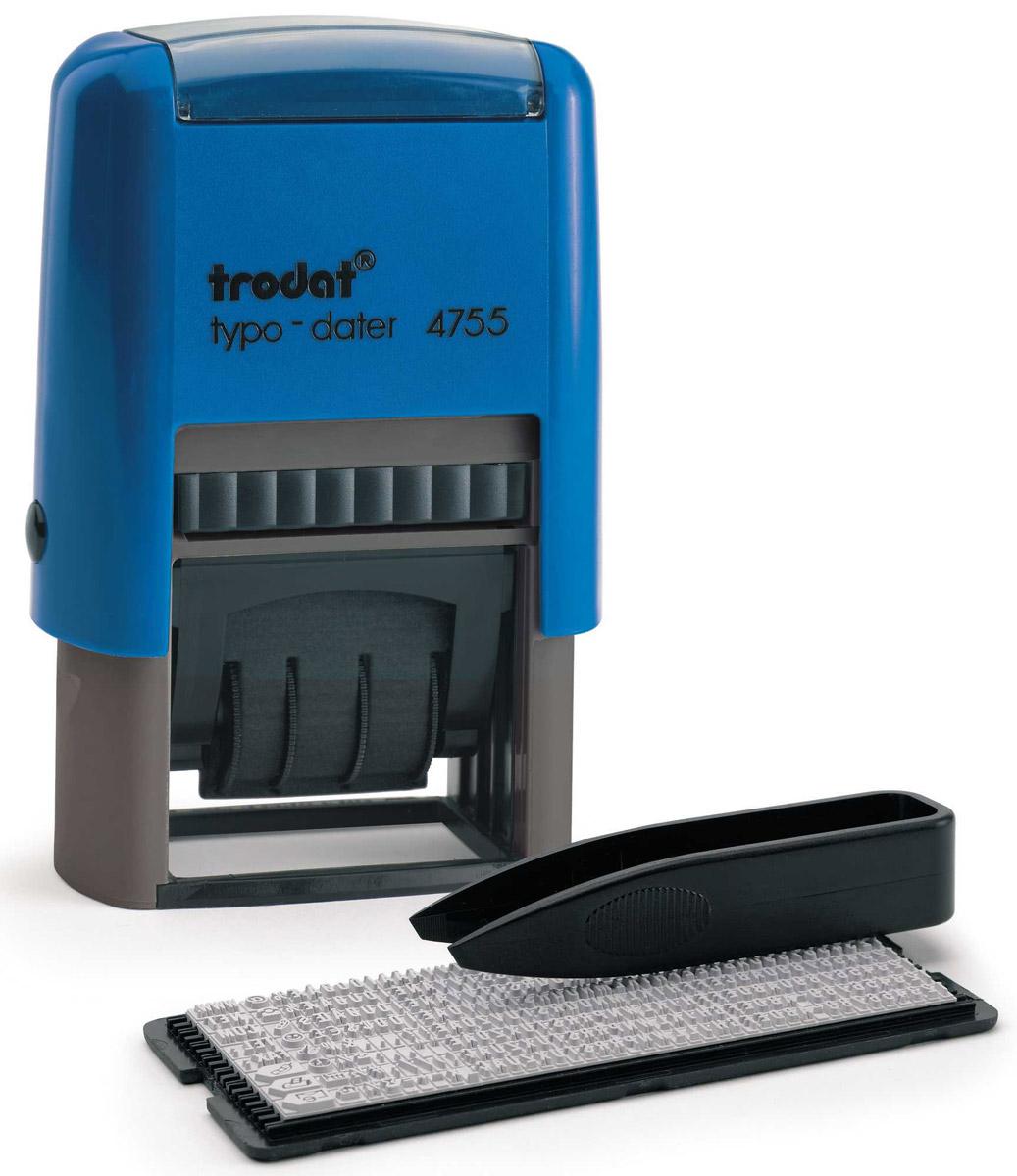Trodat Датер самонаборный двухстрочный Typo4755Датер самонаборный двухстрочный Trodat Typo с буквенным отображением месяца будет незаменим в отделе кадров или в бухгалтерии любой компании.Прочный корпус гарантирует долговечное бесперебойное использование. Модель отличается высочайшим удобством в использовании и оптимально ложится в руку благодаря эргономичной ручке. Оттиск проставляется практически бесшумно, легким нажатием руки. Улучшенная конструкция, защитное покрытие лент и видимая площадь печати гарантируют качество и точность оттиска.Автоматическое окрашивание. Дата проставляется в центре, сверху и снизу строки для набора текста без рамки. В комплект также входят сменная двухцветная подушка, пинцет, касса символов.