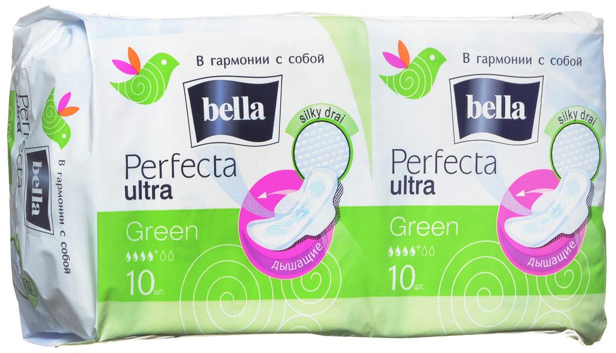 Bella Прокладки супертонкие Perfecta Ultra Green 2x10 шт в упаковкеMP59.4DBella Perfecta Ultra NightСупертонкая 2мм толщиной прокладкa увеличенного размера, абсолютно незаметнa даже под облегающей одеждой. Покрыта супервпитывающей сеточкой Silky Drai, которая моментально пропускает влагу внутрь и удерживает ее, обеспечивая чувство защищенности. Исключительный комфорт обеспечивает использование паропропускающего защитного ламината - кожа дышит! Специальная система SEP надежно защищает от протеканий.