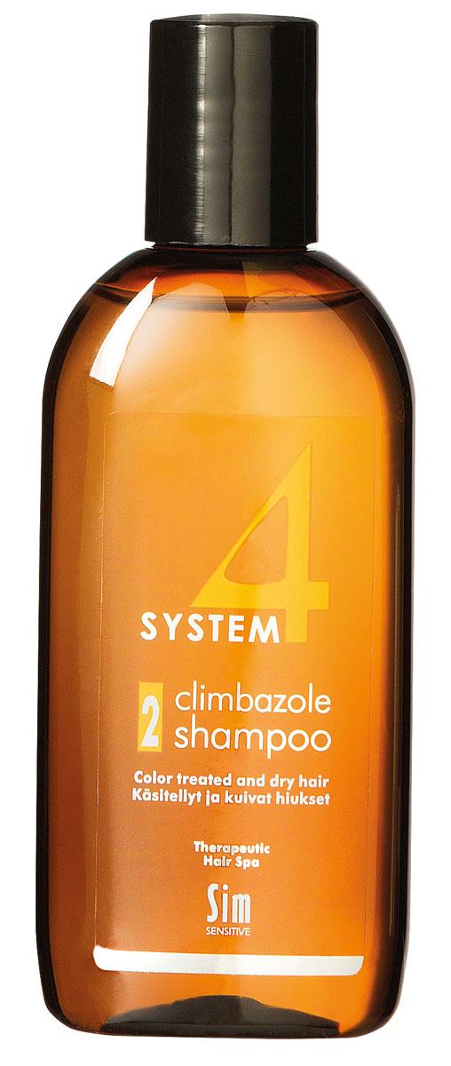 Sim Sensitive Терапевтический шампунь № 2 SYSTEM 4 Climbazole Shampoo 2, 100 млFS-36054КАК РАБОТАЕТ:салициловая кислота активно очищает кожу головы, предотвращая образование сухой перхоти, а климбазол и пироктон оламин восстанавливают микрофлору кожи головы. Гидролизованные протеины, гидролизованный коллаген, масло подсолнечника ухаживают за сухой кожей головы, поврежденными стержнями волос и продлевают стойкость цвета окрашенных волос. Розмарин и ментол обладают освежающим антибактериальным эффектом, улучшают микроциркуляцию крови. рН-4,7.БОРЕТСЯ С: сухостью кожи головы, зудом, раздражением кожи головы, сухой перхотью, cухостью, ломкостью волос, расслоением стержня волосанепослушностью и поврежденностью волос после окрашивания или химической обработки