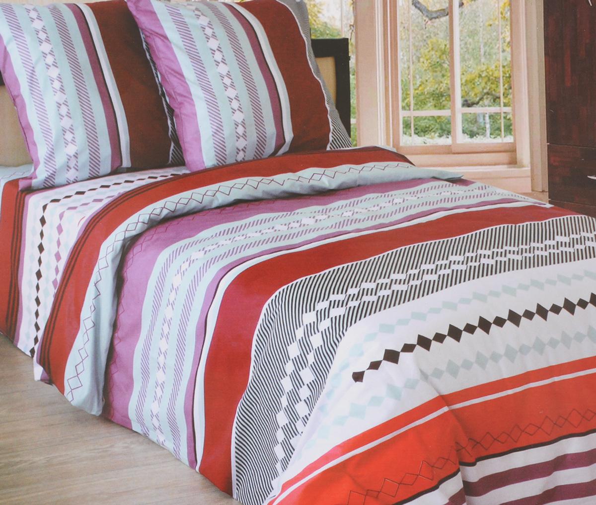 """Комплект белья Катюша """"Каберне"""", 2-спальный, наволочки 70х70, цвет: лиловый, бордовый, белый"""