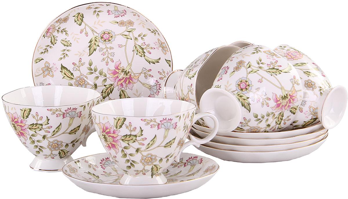 Набор чайный Patricia Фиалка, 12 предметовVT-1520(SR)Чайный набор Patricia Фиалка состоит из 6 чашек и 6 блюдец. Изделия выполнены из высококачественного фарфора и оформлены цветочным принтом. Такой набор изящно дополнит сервировку стола к чаепитию. Не рекомендуется мыть в посудомоечной машине и использовать в микроволновой печи.Объем чашки: 220 мл. Размер чашки (по верхнему краю): 10 х 10 см. Высота чашки: 8 см. Диаметр блюдца: 15,5 см.Высота блюдца: 2,5 см.