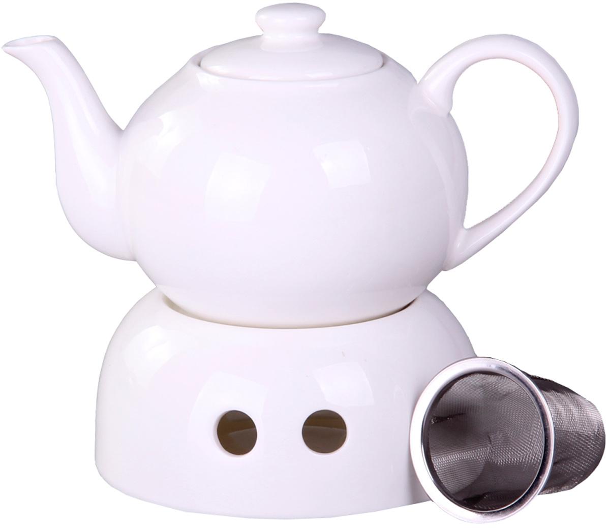 Чайник заварочный Patricia, с подогревом, с фильтром, 600 млVT-1520(SR)Чайник Patricia выполнен из керамики. Изделие располагается на керамической подставке, внутри которой устанавливается чайная свеча, поддерживающая температуру воды. Чайник оснащен съемным металлическим фильтром. Цейлонский черный, зеленый с жасмином, травяной или ягодный - любой чай в таком чайнике станет для вас наслаждением, поводом отдохнуть и перевести дыхание. Настоящие ценители этого напитка пьют только заварной чай, именно поэтому такой чайник - незаменимый предмет на кухне у гостеприимной хозяйки. Объем чайника: 600 мл.