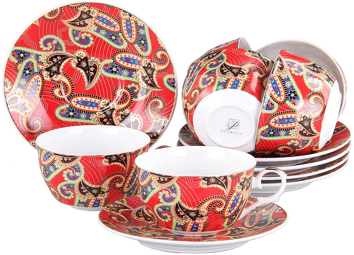 Чайный сервиз Patricia, 12 предметов. IM56-0722VT-1520(SR)Чайный сервиз Patricia на 6 персон изготовлен из качественного фарфора и оформлен красочным орнаментом. Элегантный и удобный чайный сервиз не только украсит сервировку стола, но и поднимет настроение и превратит процесс чаепития в одно удовольствие.Сервиз состоит из 12 предметов: шести чашек и шести блюдец, упакованных в подарочную коробку. Чашки имеют удобную, изящную ручку.Изделия легко и просто мыть.Объем чашки: 250 мл.Диаметр блюдца: 12 см.