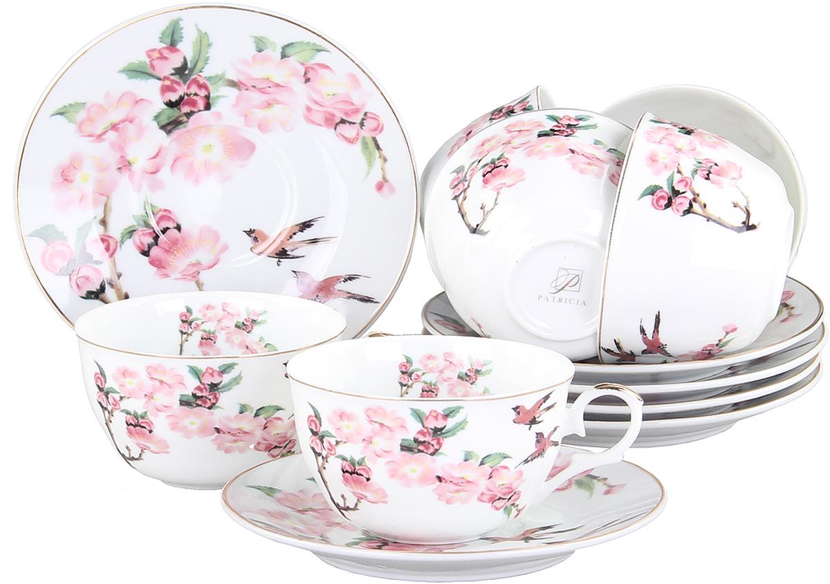 Чайный сервиз Patricia, 12 предметов. IM56-1122FS-91909Чайный набор выполнен из фарфора высшего качества,украшен ярким цветочным узором. Этот набор обязательно впишется в любой уголок вашей кухни и станет стильным дополнением к ней.