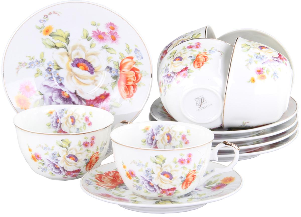 Чайный сервиз Patricia, 12 предметов. IM56-1222VT-1520(SR)Чайный сервиз Patricia на 6 персон изготовлен из качественного фарфора и оформлен красивым цветочным рисунком. Элегантный и удобный чайный сервиз не только украсит сервировку стола, но и поднимет настроение и превратит процесс чаепития в одно удовольствие.Сервиз состоит из 12 предметов: шести чашек и шести блюдец, упакованных в подарочную коробку. Чашки имеют удобную, изящную ручку.Изделия легко и просто мыть.Объем чашки: 250 мл.Диаметр блюдца: 12 см.
