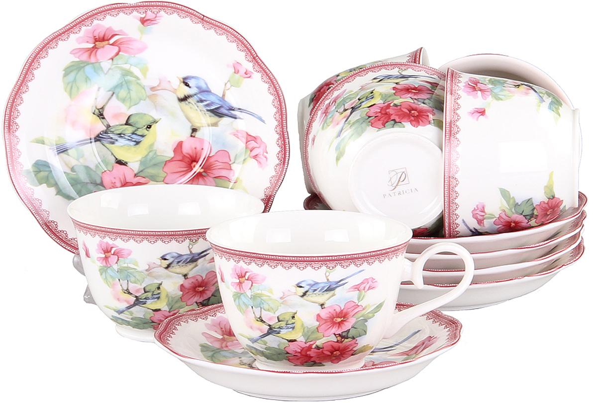 Набор чайный Patricia Дикая роза, 12 предметовVT-1520(SR)Чайный набор Patricia Дикая роза состоит из 6 чашек и 6 блюдец. Изделия выполнены из высококачественного фарфора и оформлены ярким цветочным рисунком и изображением птиц. Такой набор изящно дополнит сервировку стола к чаепитию. Не рекомендуется мыть в посудомоечной машине и использовать в микроволновой печи.Объем чашки: 250 мл.
