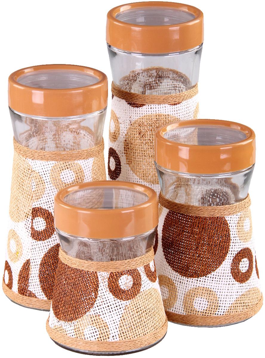 Набор банок для сыпучих продуктов Patricia, 4 шт. IM99-3916VT-1520(SR)Набор Patricia состоит из четырех банок для сыпучих продуктов, выполненных из прочного стекла. Изделия, декорированные плетеной рогожкой, имеют цилиндрическую форму и оснащены герметичными крышками.Такие банки прекрасно подходят для хранения сахара, соли, круп, конфет, орехов, печенья и других сыпучих продуктов. Не рекомендуется мыть в посудомоечной машине.