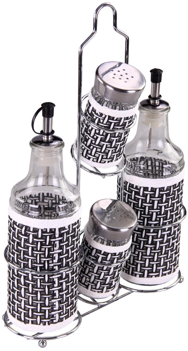 Набор для специй Patricia, 5 предметов. IM99-3919VT-1520(SR)Набор для специй на металлической подставке выполнен из стекла и плети. В них можно хранить как соль или сахар, так и различные специи.Набор состоит из пяти предметов: солонки, перечницы, двух соусников и подставки.