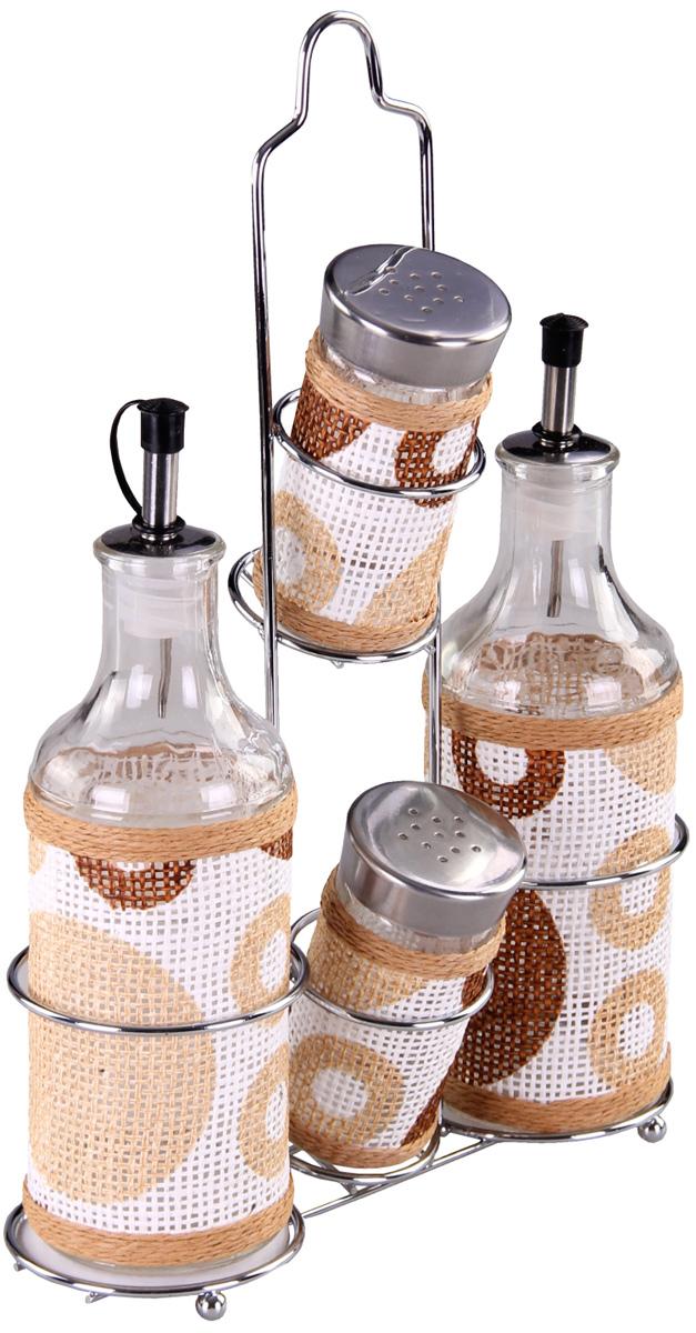 Набор для специй Patricia, 5 предметов. IM99-3920VT-1520(SR)Набор для специй на металлической подставке выполнен из стекла и плети. В них можно хранить как соль или сахар, так и различные специи.Набор состоит из пяти предметов: солонки, перечницы, двух соусников и подставки.